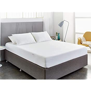 "MY ARMOR Cotton 220 GSM Waterproof and Dustproof Terry Mattress Protector (Off White, Single Bed 72"" x 36"")"