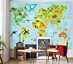 SuperMee Cute Animal Tapestry Blue World Map Tapestry Wall Hanging Cartoon Wild Creature Distribution Map Wall Blanket for Kids Children Bedroom Living Room Dorm Decor,79X59 Inch