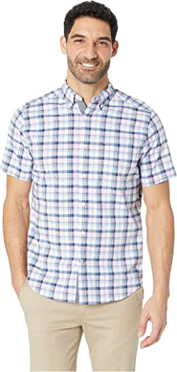 Short Sleeve Casual Pink Plaid Shirt