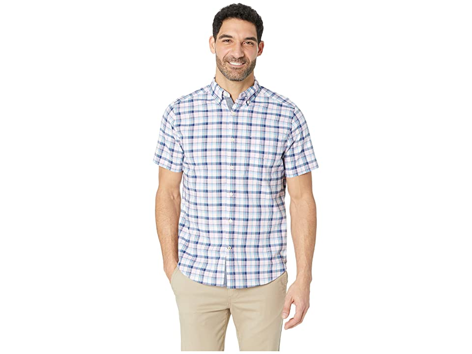 Nautica Short Sleeve Casual Pink Plaid Shirt (Pink Lady) Men