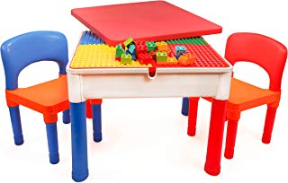 Smart Builder Toys 3 in 1 Major Brands Compatible Baseplate, Activity Table with Removable Cover and Large Storage Area with 2 Chairs Set, Can be Used for Large, and Small Building Bricks