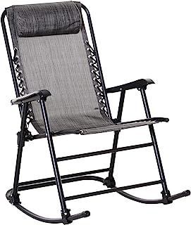Outsunny schommelstoel, inklapbare schommelstoel, tuinstoel, schommelbank, schommelstoel met hoofdkussen, staal + textilen...