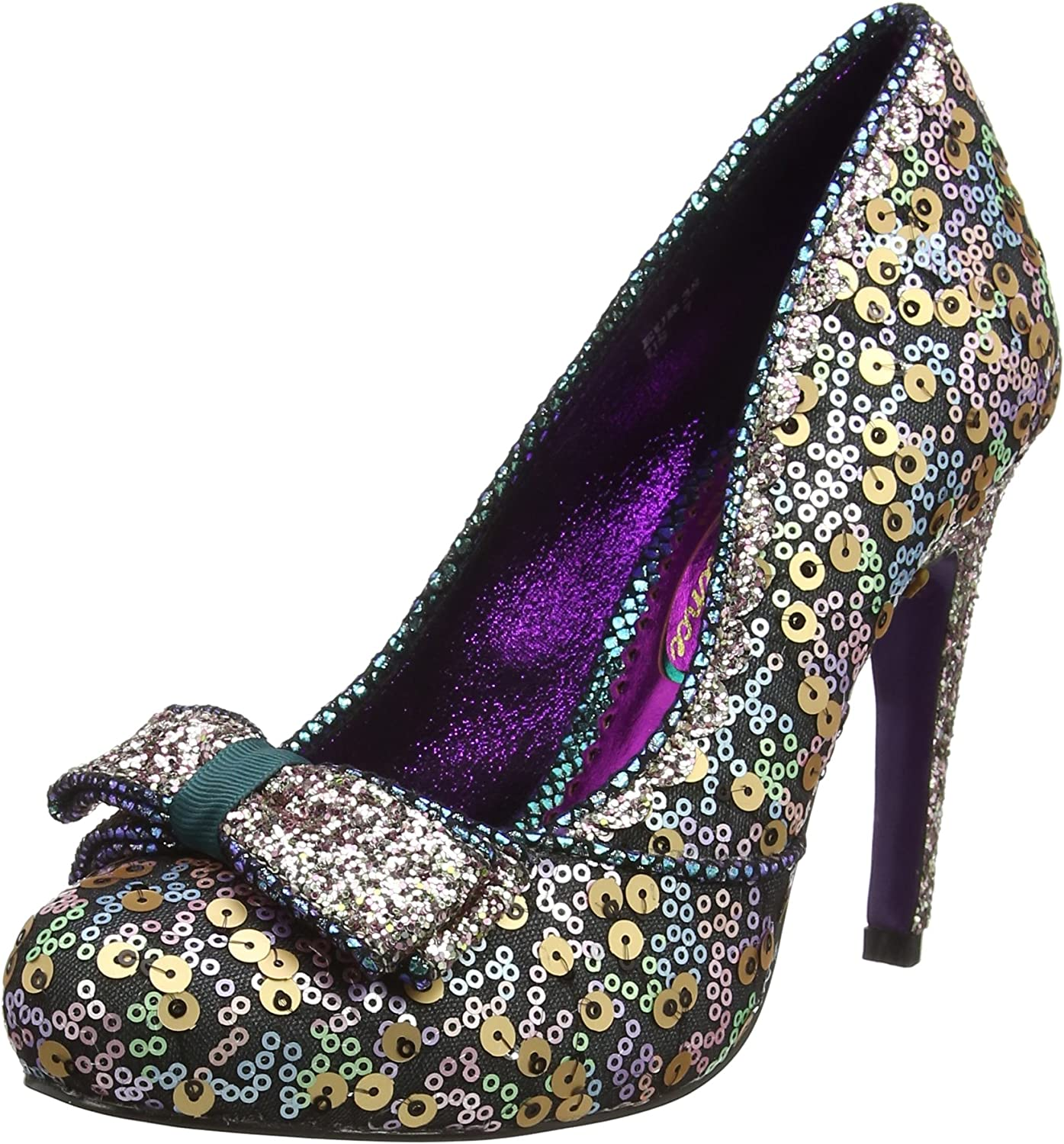 Poetic Licence Womens Bassey Purple Sequin Glitter High Heel shoes Size