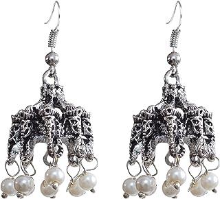 Sansar India Dangler Earrings for Women (Silver) (751)