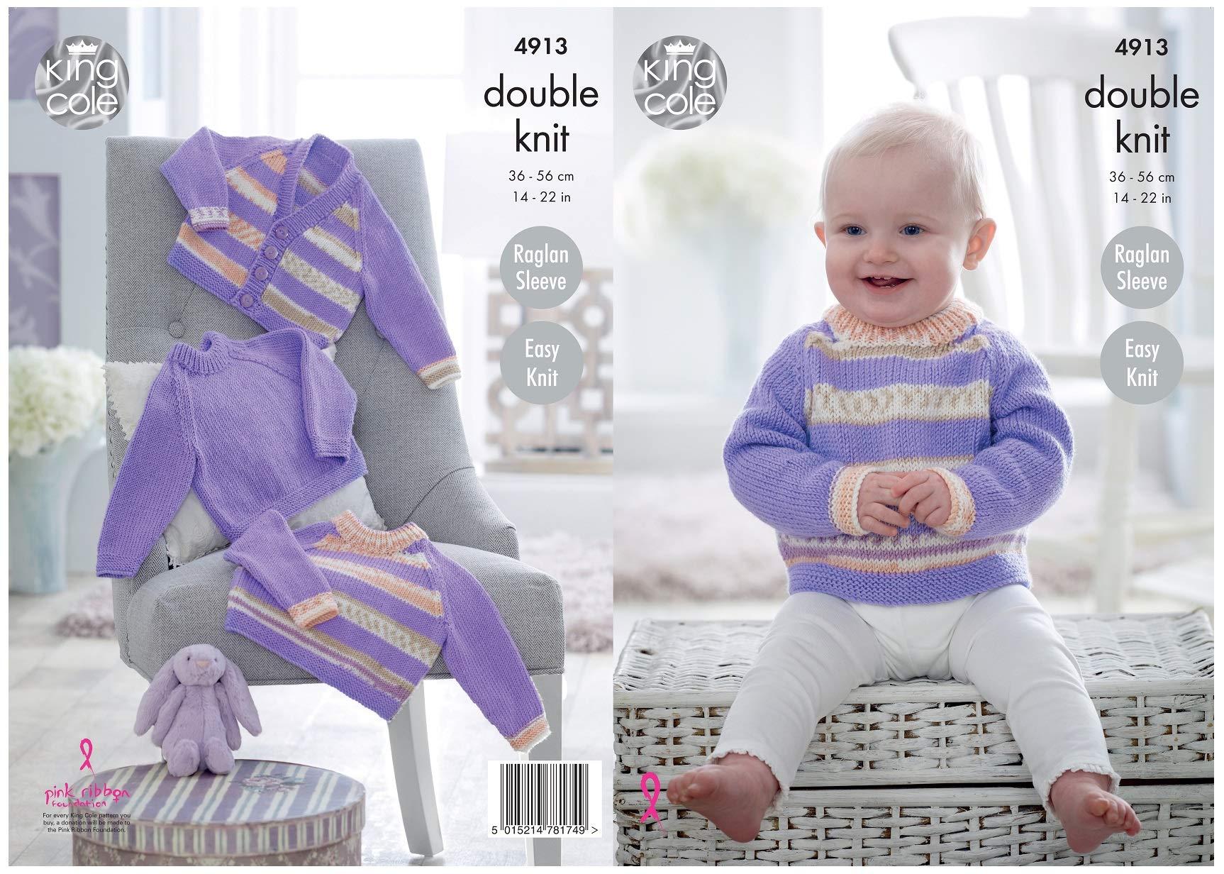 King Cole Baby Knitting Pattern Easy Knit Raglan Jacket Jumper Cardigan Hat 4805