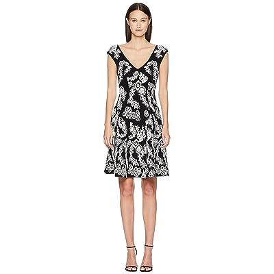 Zac Posen Knitted Jacquard Short Sleeve Dress (Black/White) Women