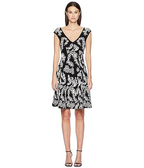 Zac Posen Knitted Jacquard Short Sleeve Dress