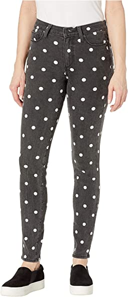 Hoxton Ultra Skinny Jeans in Black/Cream Polka Dot
