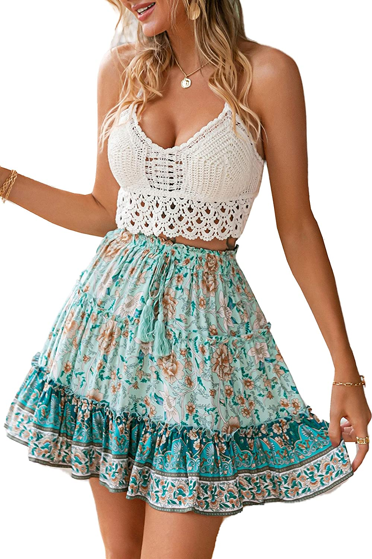 Glamaker Women's Summer Bohemian Floral Print Ruffle Layered Skater Skirt Boho Beach Mini Flared Skirt with Drawstring