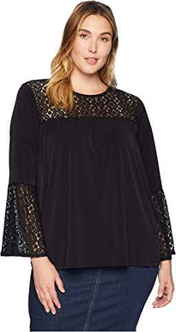 Plus Size Lace Inset Bell Top