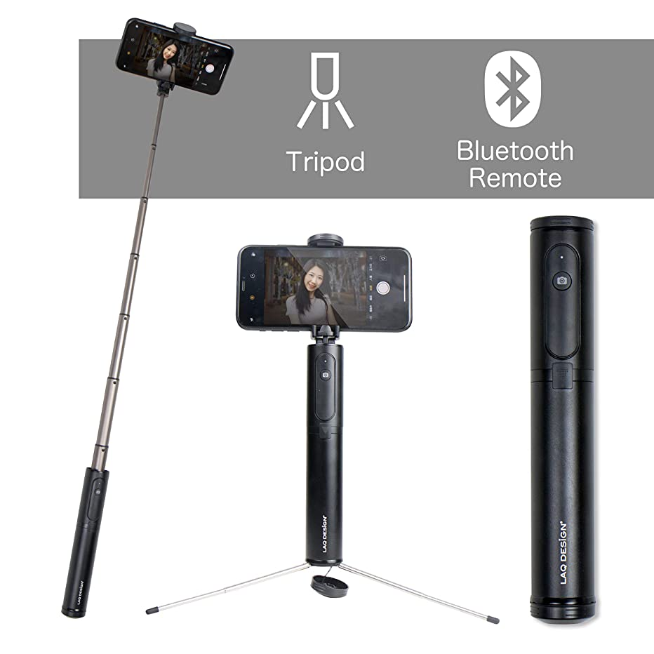 LAQ Design Aluminum Bluetooth Selfie Stick with Hidden Tripod and Remote for iPhone Xs/XS max/XR/X/8/8P/7/7P/6s/6/5, Android Galaxy S9/8/7/6/Note, Huawei, Nubia, More