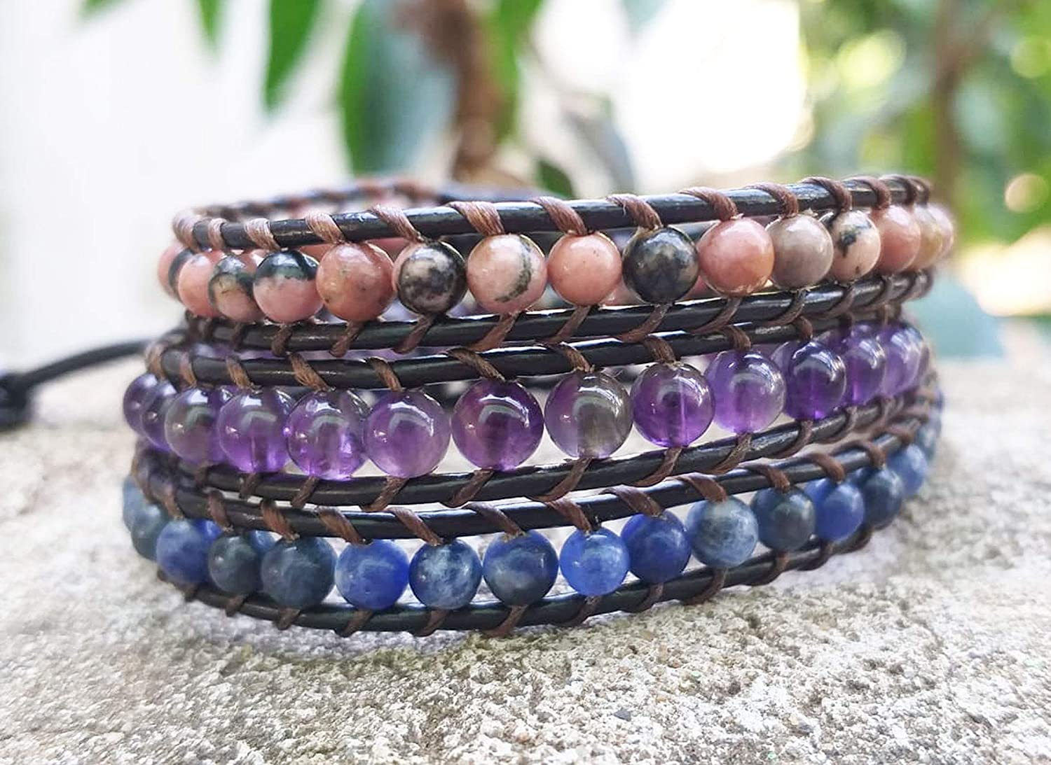 3 Wrap Rhodonite Amethyst Sodanite bracelets Cheap super special price stone leather pink Max 75% OFF