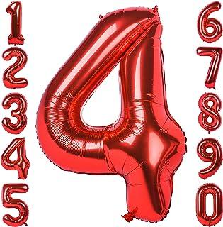 بالونات مايلار رقم 4 عملاقة 40 انش من الفوم برقم كبير وحجم كبير ممتلئة بالهيليوم مناسبة لزينة حفلات عيد الميلاد للفتيات