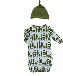 Baby-girls Newborn Print Gown and Knot Hat Set