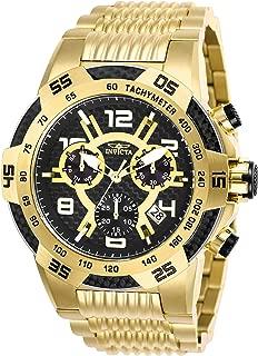 Invicta Men's Speedway Quartz Watch with Stainless Steel Strap, Gold, 30 (Model: 25286)