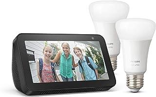 Echo Show 5, Nero + Lampadine intelligenti a LED Philips Hue White, confezione da 2 lampadine, compatibili con Bluetooth e...