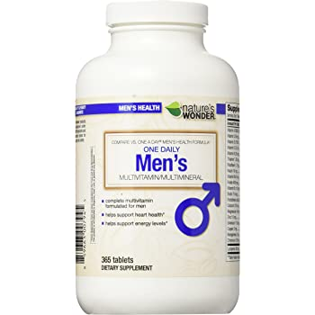 Nature's Wonder One Daily Men's Multivitamin, 365 Count, Compare vs. One A Day® Men's Health Formula