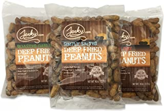 Jerky.com Whole Deep Fried Peanuts Sampler, Bulk 3 Pack - Eat Them Shell and All - Perfect Snack Food, Gourmet Flavors Include Roasted Garlic, Salted and Spicy Hot, Sugar Free - 30oz Total