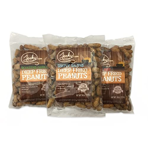 World Famous Deep Fried Peanuts Sampler- TESTER 3 PACK - EAT THEM SHELL AND ALL! - Roasted Garlic, Simply Salted and Spicy Hot - 30 total oz.