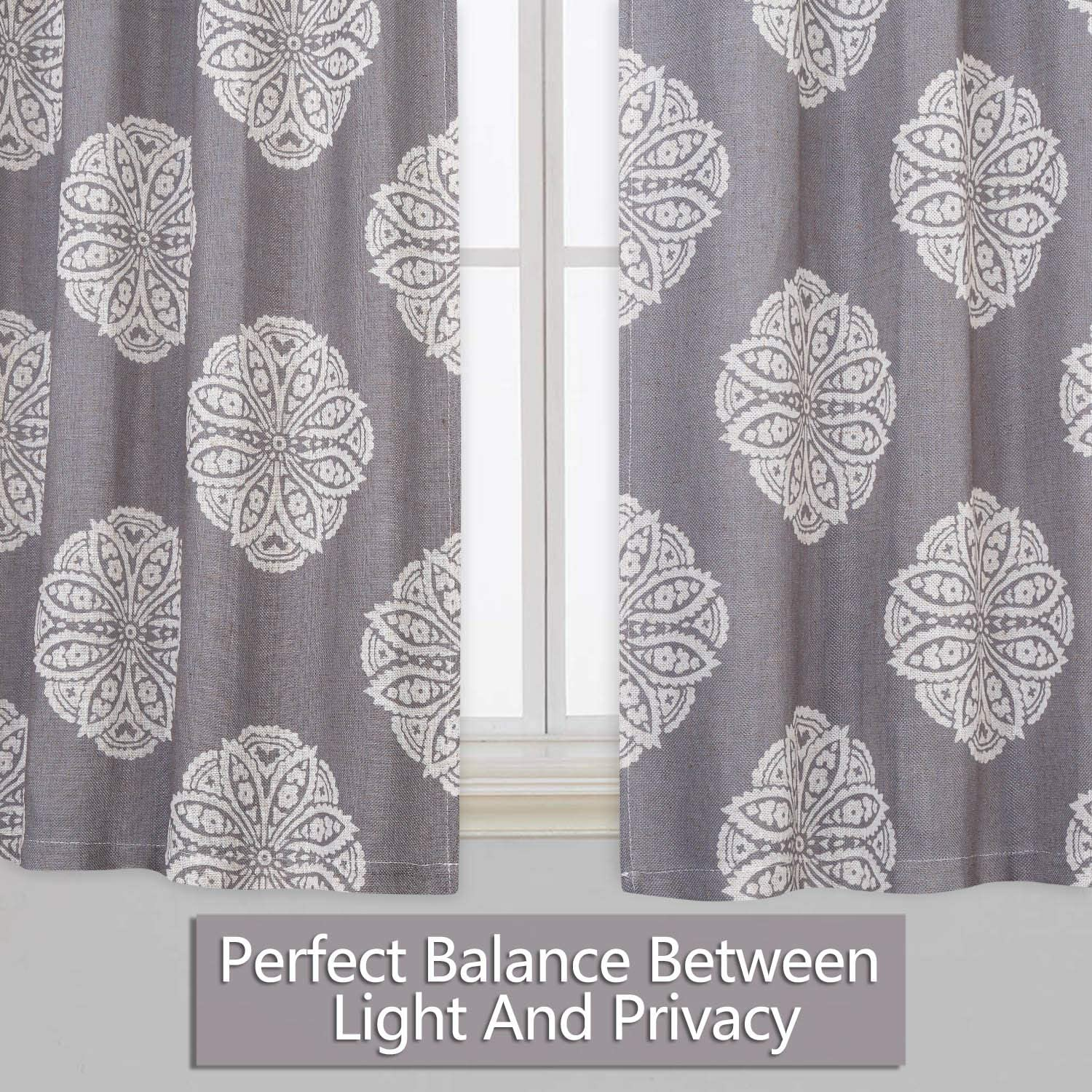 CAROMIO Tier Curtains 30 Inch Length Floral Medallion Damask Print Linen Blended Short Tier Curtains for Kitchen Cafe Small Half Window Curtains for Bathroom Dark Navy