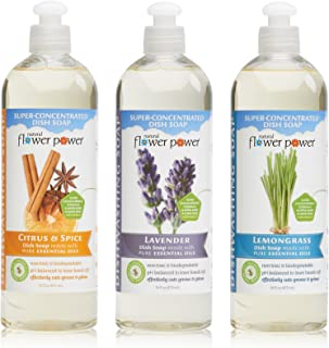 Natural Flower Power - Natural Dish Soaps Variety Pack (Citrus & Spice, Lavender, and Lemongrass), Effectively Cuts Grease and Grime, Non-Toxic and Biodegradable, Sulfate Free - 16 Ounce (Pack of 3)