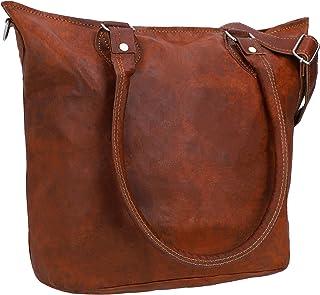 Gusti Handtasche Damen Leder - Therese Ledertasche mit Reißverschluss Umhängetasche Schultertasche Shopper groß Braun Echt...
