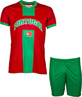 8cfec51ef11b5 A chacun son Pays Maillot + Short Portugal - Collection Supporter - Taille  Enfant