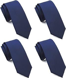 """ZENXUS Solid Skinny Ties for Men 4-PACK, Classic 2½"""" Slim Neckties for Wedding Party Office Gift"""