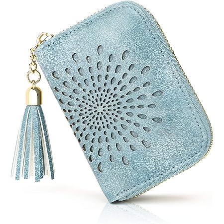 APHISON Kreditkartenetui Damen RFID Schutz Kreditkartenmäppchen Visitenkartenetui für Frauen geldbörse klein PU Leder Reißverschlussetui 10 Fächer Geschenke für Frauen (1927 (Blue)