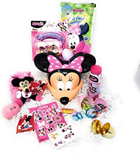 JGT Happy Easter Basket DIY Kids Girl Toddlers Minnie Theme Gift Baskets Plush Toy Stuffers Eggs Gifts Goodies Activities Artificial Grass Decorations Party Favors Bow Bag Girls