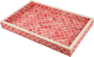 Handicrafts Home Moorish Moroccan Pattern Inspired Trays – Ideal Ottoman Tray – Multipurpose Bone Inlay Serving Tray or Simply Use as a Decorative Trays 11x17 Inches Red White