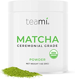 Teami Matcha Green Tea Powder - Ceremonial Grade USDA Organic - Best for Lattes, Smoothies, Baking, Recipes, Traditional Preparation, and More - Authentic Japanese Origin - 30g (1oz) Tin