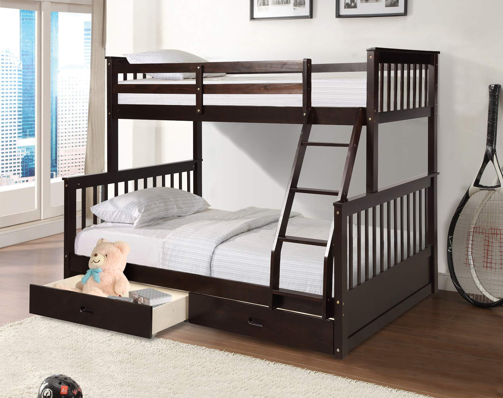 Twin Over Full Bunk Bed With Storage Drawers Weyoung Solid Wood Bunk Bed Frame With 2 Raised Panel Bed Drawers Separate To Twin Full Bed Dark Espresso Buy Online In Monaco At Monaco Desertcart Com