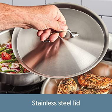 All-Clad D3 Fry Lid, 10 Inch Pan, Dishwasher Safe Stainless Steel Cookware, Silver, 10-Inch