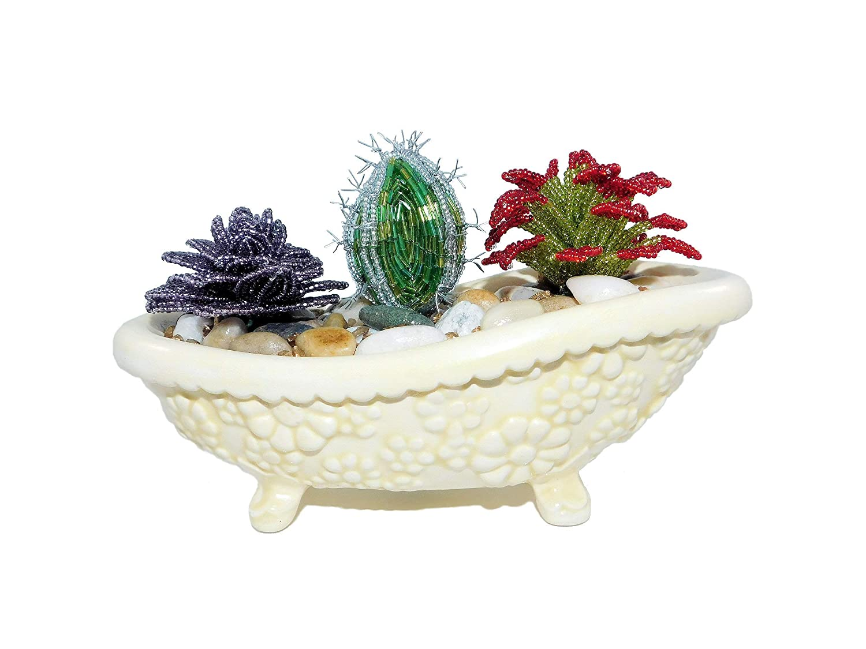 unisex 4.7 Inch Handmade Beaded Succulents Pot. Ceramic Tucson Mall in Bathtub Arti