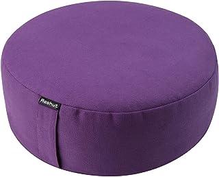 REEHUT Zafu Yoga Meditation Cushion, Round Meditation Pillow Filled with Buckwheat, Zippered Organic Cotton Cover, Machine...