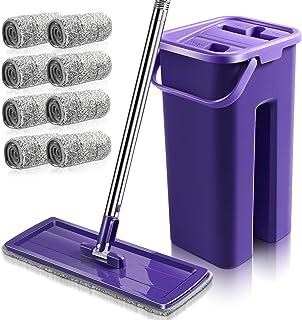 MASTERTOP Ensemble balai plat et seau de nettoyage avec 8 serpillères en microfibre pour système de nettoyage de sol humid...