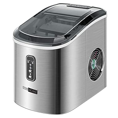 VIVOHOME Stainless Steel Electric Portable Compact Countertop Automatic Ice Cube Maker Machine 26lbs/day Light Silver ETL Listed
