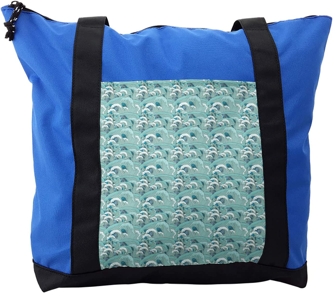 Lunarable Exotic Shoulder Bag, Ocean Waves with Fish, Durable with Zipper