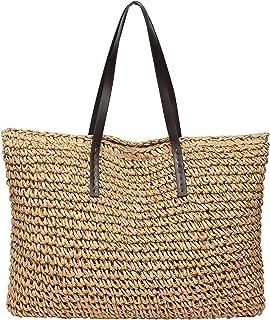 ZYEZI Damen-Stroh-Strandtasche, Handtaschen-Schulter-Taschen-Feiertags-Einkaufstasche für Arbeitsferien-Baby-Tätigkeiten i...