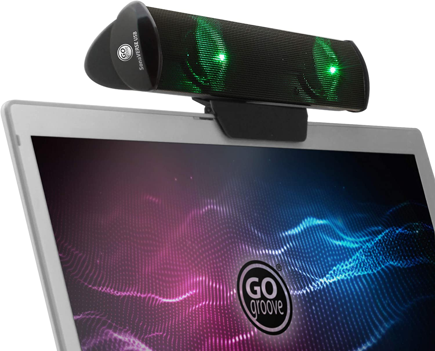 GOgroove SonaVERSE LED Speaker for Laptop Computer - USB Powered Clip-On Sound Bar with Mini Portable External Speaker Design for Monitor, Back Switch for Power - Audio Input and Power (Green)