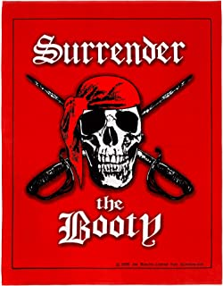 Surrender The Booty Beach Blanket 54 x 68 inch Pirate Skull Beach Towel 100% Cotton Family Size