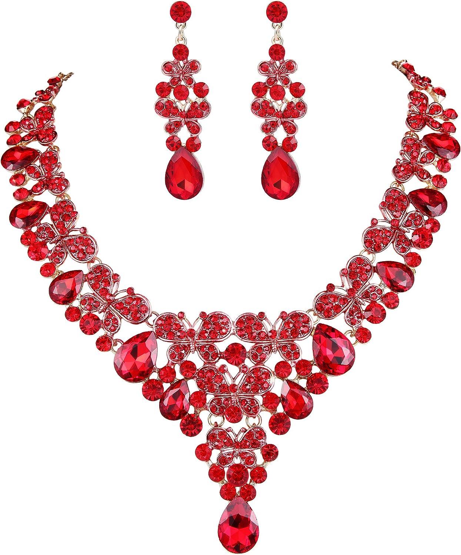 EVER FAITH Rhinestone Crystal Enamel Party Butterfly Teardrop Necklace Earrings Set