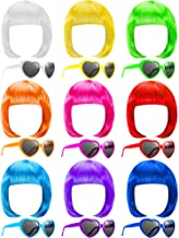 18 Pieces Party Short Bob Wigs and Sunglasses Sets, Neon Bob Wig Sunglasses Pack Colorful Party Cosplay Wig Daily Party Ha...