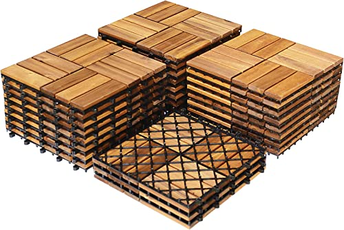 high quality Giantex 27 new arrival PCS Interlocking Patio Deck Tiles, 12 x 12in Acacia wholesale Hardwood Floor Tiles, Tools Free Assembly, 27 sq. Ft Wood Composite Deck Flooring Pavers for Outdoor & Indoor, Checker Pattern outlet sale
