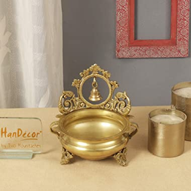 Two Moustaches Ethnic Carved 7 Inches Brass Decor Urli Bowl with Bell (Golden)