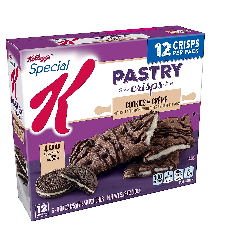 Kellogg's Special K Pastry Crisps, Breakfast Bars, 100 Calorie Snacks, Cookies 'N' Creme, 5.28oz Box (12 Crisps)
