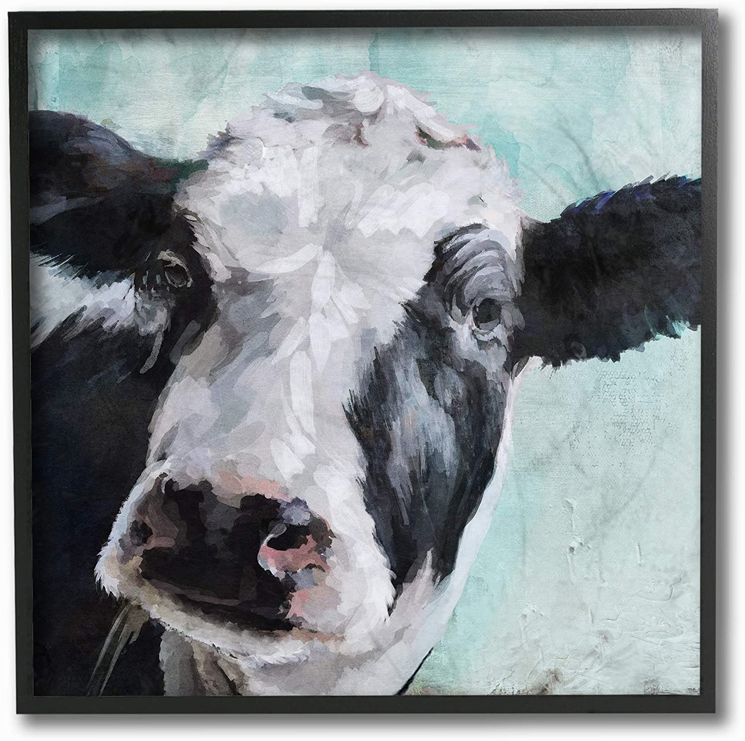 Stupell Industries Home Décor Collection Gentle Farm Cow Painting on bluee Stretched Canvas Wall Art, Multi-color