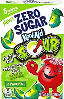Kool-Aid Sours Zero Sugar, Snappin' Green Apple, On-the-Go Drink Mix, .68oz Box (6 Packets)