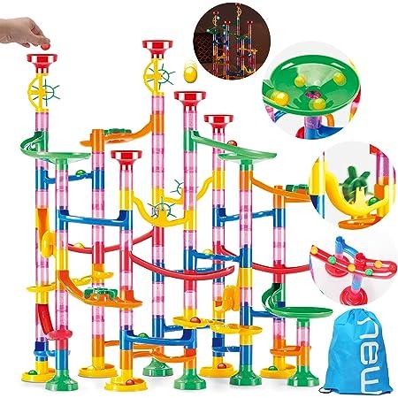 UQTOO 220個 ビーズコースター 知育玩具 スロープ ルーピング セット 子供 組み立 DIY 積み木 室内遊び 男の子 女の子 誕生日のプレゼント ビー玉転がし おもちゃ ブロック
